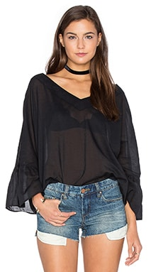Peasant Voile Loose Ruffle Sleeve Top in Black