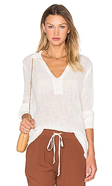 Enza Costa Long Sleeve Henley Top in Cloud