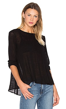 Long Sleeve Trapeze Top en Noir