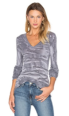 Enza Costa Cashmere Cuffed V Neck Top in Erosion