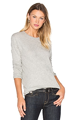 Cashmere Loose Crew Neck Top en Gris Chiné Light