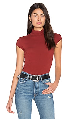 Enza Costa Cap Sleeve Turtleneck Top in Russet
