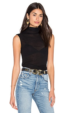 Enza Costa Sleeveless Turtleneck Top in Black