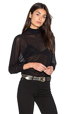 Enza Costa Cuffed Dolman Turtleneck Top in Black