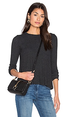 Enza Costa Long Sleeve Flare Crew Neck Top in Charcoal