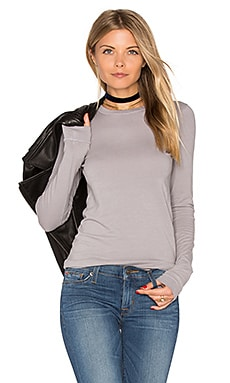 Bold Long Sleeve Crew Neck Top in Griffin