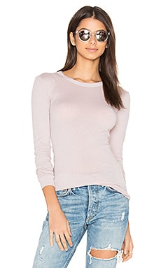 Tissue Jersey Bold Long Sleeve Crew Top in Pink Beige