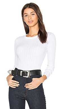 Cashmere Rib Long Sleeve Tee in White