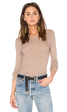 Rib Long Sleeve Top in Khaki