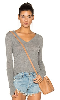 Cashmere Cuffed V Neck Top in Smoke