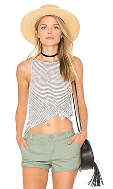Crop Sheath Tank em White & Black Stripe