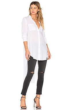 Side Slit Button Up in White