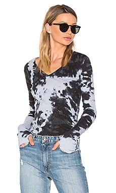 Cashmere Cuffed V Neck Top in Petrol