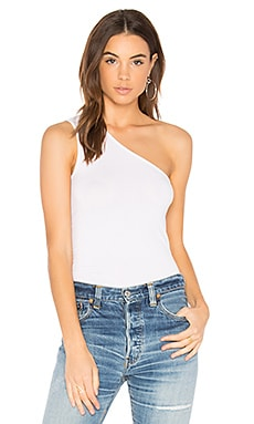 One Shoulder Tank in White