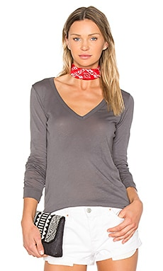 V Neck Long Sleeve Tee in Castlerock