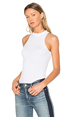 Rib Mock Neck Tank in White