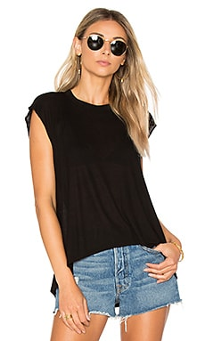 Hi Lo Rib Tee in Black
