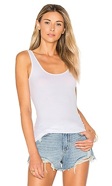 Rib Scoop Back Tank in White