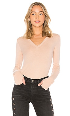 Cashmere Cuffed V Neck Top Enza Costa $174 BEST SELLER