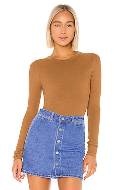 Rib Fitted Long Sleeve V Neck Enza Costa $76