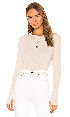 Cashmere Blend Thermal Loose Cropped Long Sleeve Top Enza Costa $185