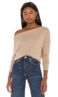 Cashmere Cuffed Off Shoulder Long Sleeve Top Enza Costa $198 BEST SELLER