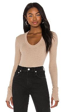X REVOLVE Cashmere Easy Cuffed U Bodysuit Enza Costa $196