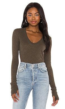 X REVOLVE Cashmere Easy Cuffed U Bodysuit Enza Costa $174