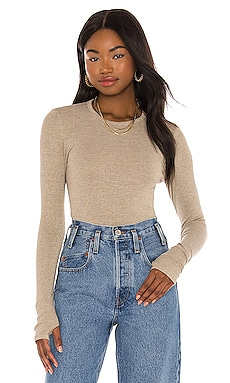 Lurex Rib Long Sleeve Fitted Crew Top Enza Costa $150 NEW