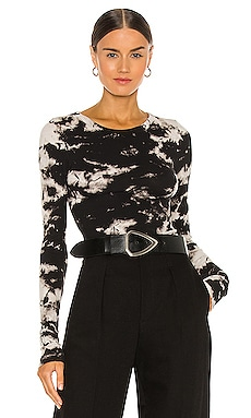 Silk Rib Fitted Long Sleeve Crew Top Enza Costa $165
