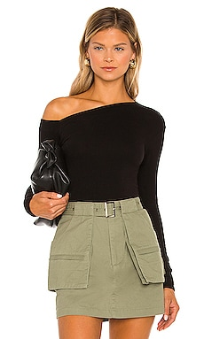 Angled Exposed-Shoulder Long Sleeve Top Enza Costa $134