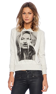 Eleven Paris Kat Mustache Hoodie in Melange Light Grey