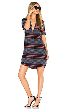 Striped Slim Signature Dress in Eclipse & Hibiscus