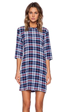 Equipment Aubrey Supreme Plaid Dress in Peacoat Multi