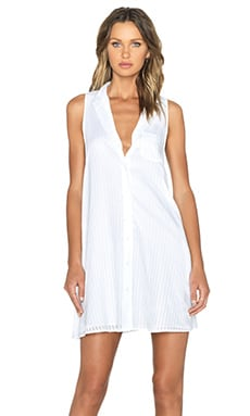 Equipment Mina Embroidery Stripe Dress in Bright White