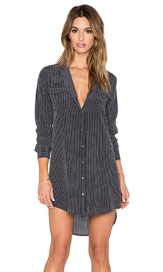 Equipment Slim Signature Button Up Dress in True Black & Bright White