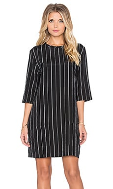 Equipment Aubrey Wall Street Pigment Striped Dress in True Black & Marshmallow