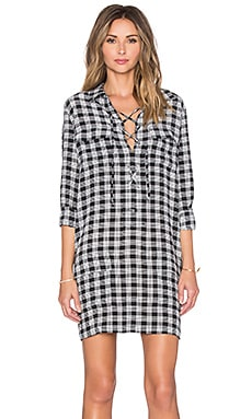 Equipment Knox Palaka Plaid Dress in True Black