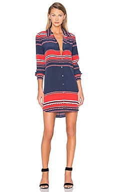 Equipment Brett Long Sleeve Dress in Peacoat Multi