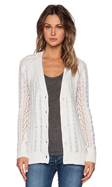 Equipment Suzy Cable Knit Cardigan in Ivory