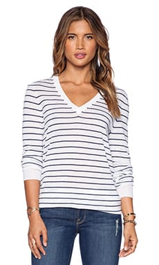 Equipment Serena Easy Stripe V Neck Sweater in Ivory & Peacoat
