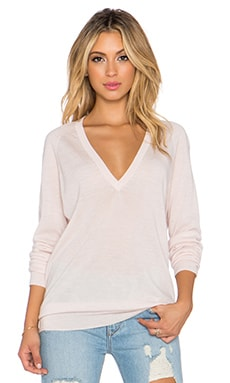 Equipment Kelsey V Neck Cashmere Sweater in Chalk Pink