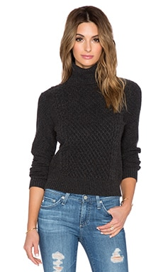 Equipment Atticus Turtleneck Cashmere Sweater in Charcoal Heather Grey