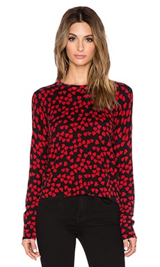 Equipment Endless Heart Shirely Crew Neck Sweater in Cherry Red & Black