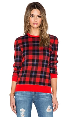 Equipment St. Trinians Shane Crew Neck Sweater in Cherry Red Multi