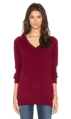 Equipment Asher Cashmere Classics V-Neck Sweater in Oxblood