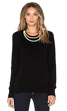 Shane Pearl Necklace Sweater in Black
