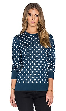 Equipment Shane Retro Dot Crew Neck Sweater in Majolica Blue & Ivory