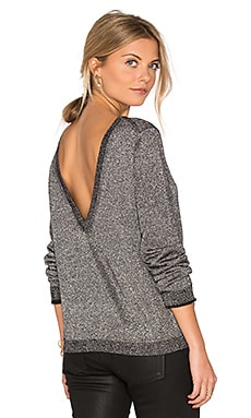 Calais V Back Sweater in Black & Silver Lurex