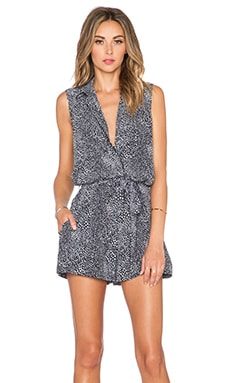 Equipment Animal Printed Sleeveless Earl Romper in True Black